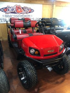 "2019 EZGO Express L6 Gas. Flame Red with Red and Black Seats. Vehicle comes with 4"" lift, 23"" tires, rear seat, head lights, tail lights, brake lights, horn, fuel gauge, comfort drip steering wheel and 2 year warranty. Top and windshield included in price. Cash Price: $9250 Finance price: $9550 Payment as low as $208 per month @ 1.99% for 48 months ***sales tax and doc fees not included***"